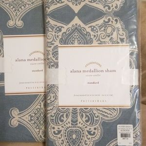 NEW 2 Pottery Barn Alana Porcelain Blue Std Shams
